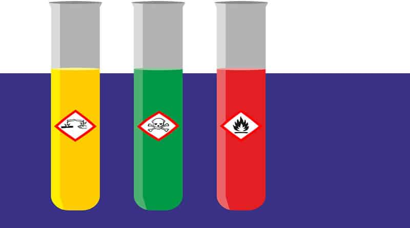 hazardous chemicals in test tubes