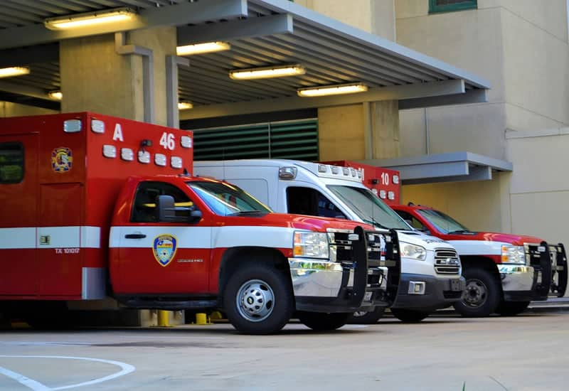 ambulances cue at hospital in emergency
