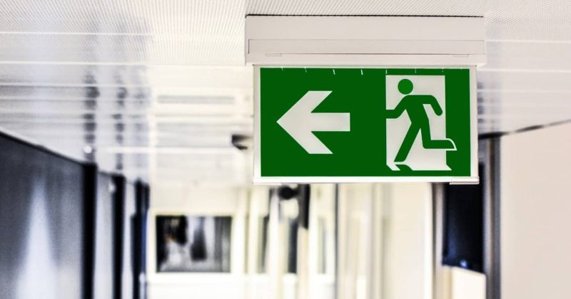 direction to an emergency exit