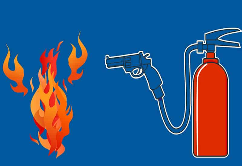 shoot out all fires with a fire extinguisher before they become big